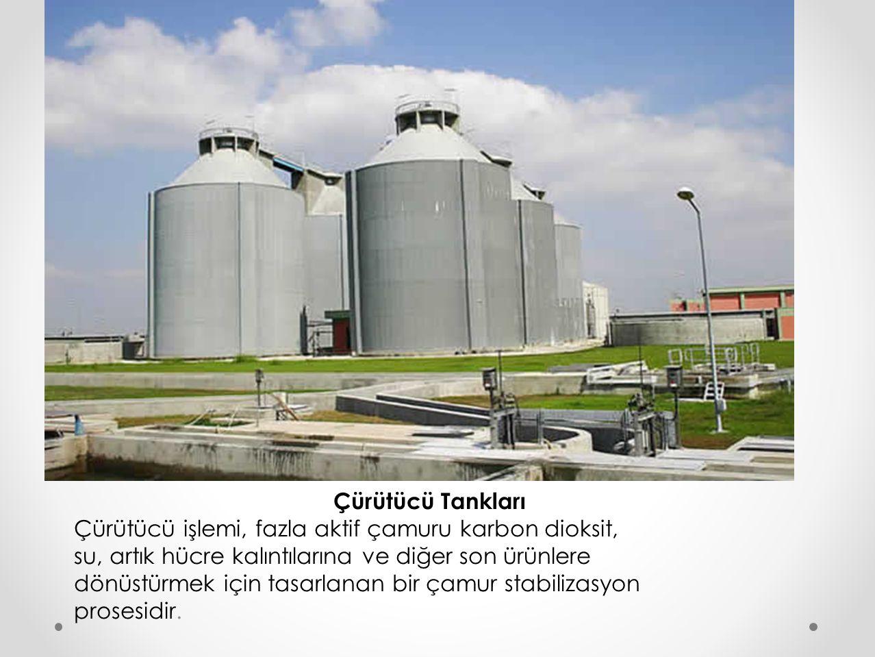 Çürütücü Tankları Çürütücü işlemi, fazla aktif çamuru karbon dioksit, su, artık hücre kalıntılarına ve diğer son ürünlere.