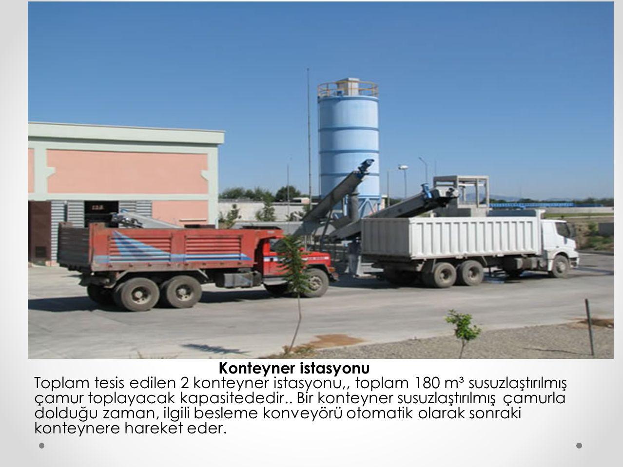 Konteyner istasyonu Toplam tesis edilen 2 konteyner istasyonu,, toplam 180 m³ susuzlaştırılmış çamur toplayacak kapasitededir..