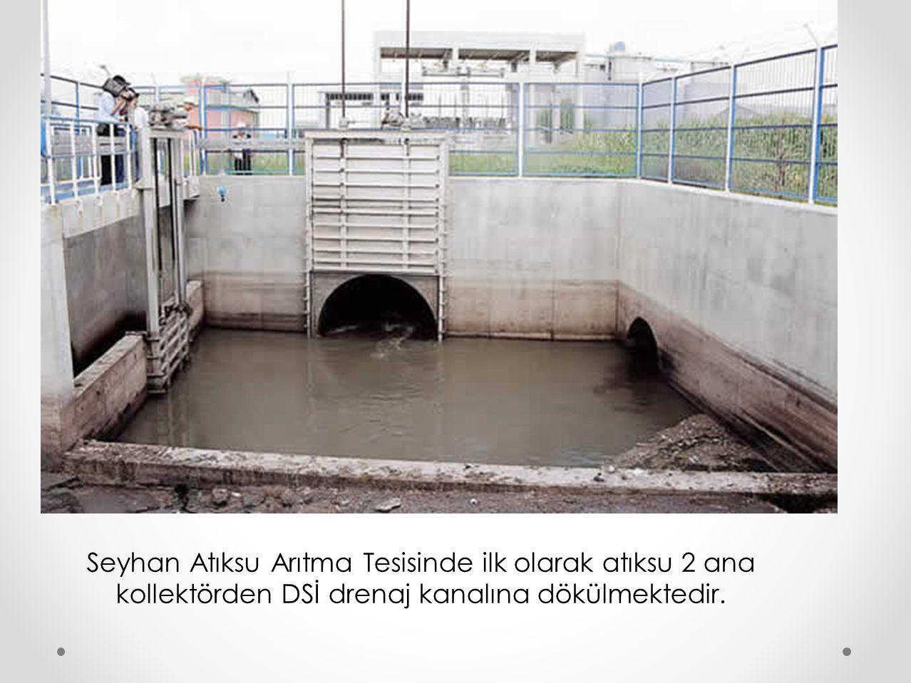 Seyhan Atıksu Arıtma Tesisinde ilk olarak atıksu 2 ana kollektörden DSİ drenaj kanalına dökülmektedir.