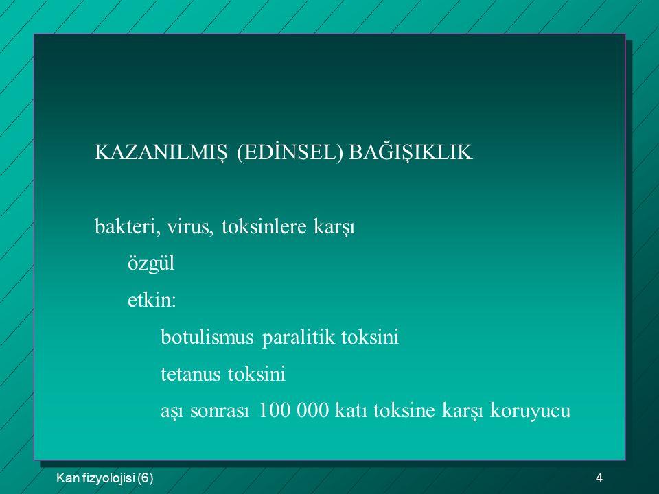 KAZANILMIŞ (EDİNSEL) BAĞIŞIKLIK bakteri, virus, toksinlere karşı özgül
