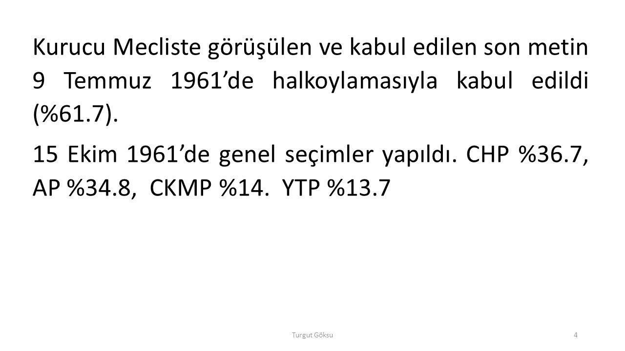 Kurucu Mecliste görüşülen ve kabul edilen son metin 9 Temmuz 1961'de halkoylamasıyla kabul edildi (%61.7).