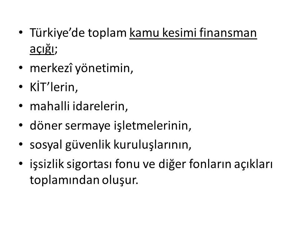 Türkiye'de toplam kamu kesimi finansman açığı;