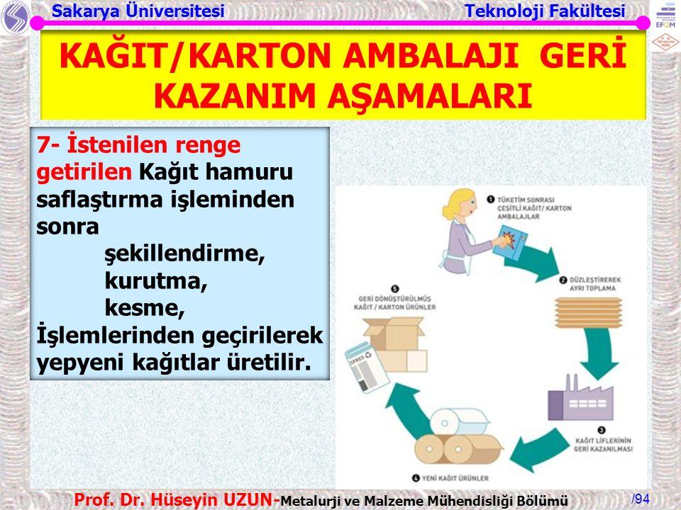 KAĞIT/KARTON AMBALAJI GERİ KAZANIM AŞAMALARI