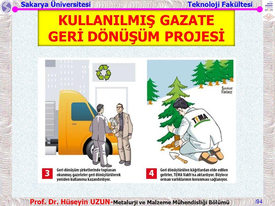 KULLANILMIŞ GAZATE GERİ DÖNÜŞÜM PROJESİ