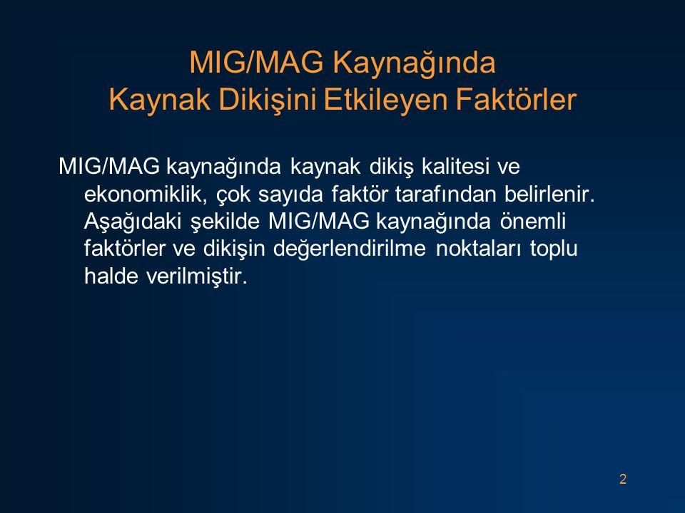 MIG/MAG Kaynağında Kaynak Dikişini Etkileyen Faktörler