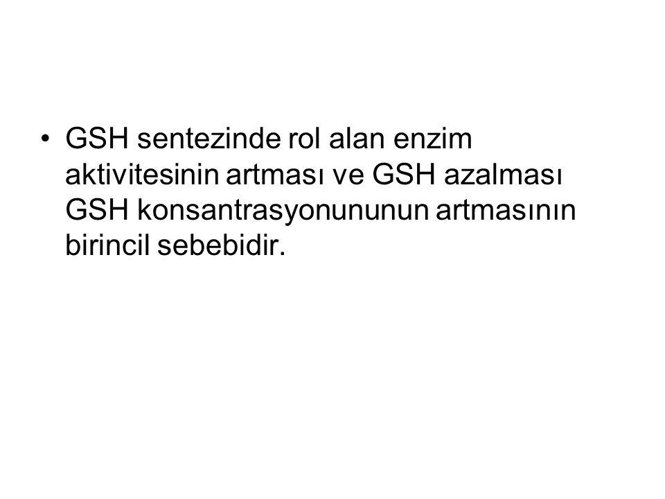 GSH sentezinde rol alan enzim aktivitesinin artması ve GSH azalması GSH konsantrasyonununun artmasının birincil sebebidir.