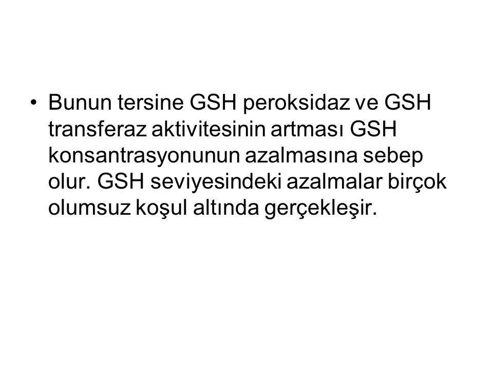 Bunun tersine GSH peroksidaz ve GSH transferaz aktivitesinin artması GSH konsantrasyonunun azalmasına sebep olur.