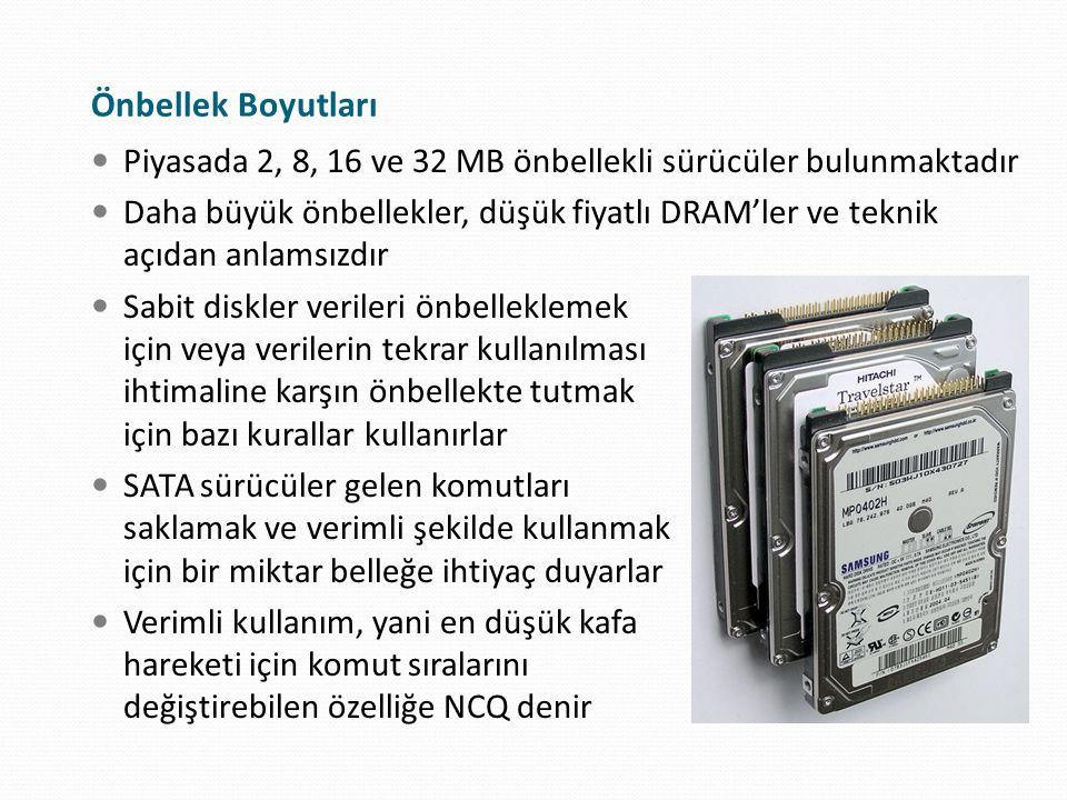 Önbellek Boyutları Piyasada 2, 8, 16 ve 32 MB önbellekli sürücüler bulunmaktadır.