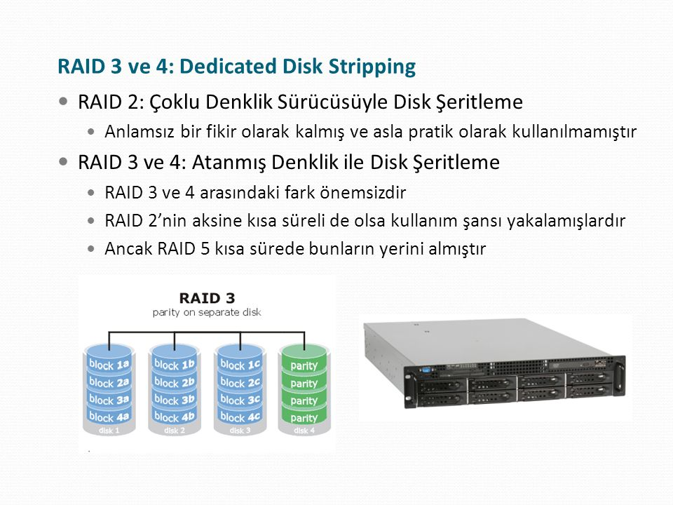 RAID 3 ve 4: Dedicated Disk Stripping