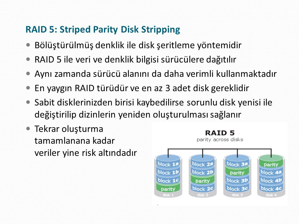 RAID 5: Striped Parity Disk Stripping