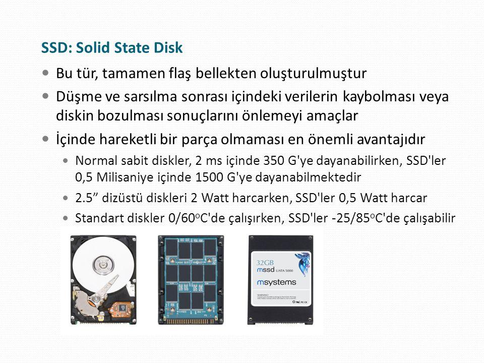 SSD: Solid State Disk Bu tür, tamamen flaş bellekten oluşturulmuştur
