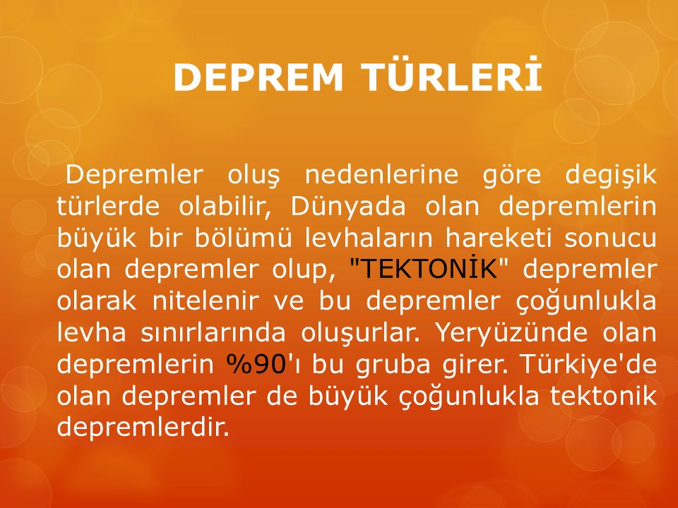 DEPREM TÜRLERİ