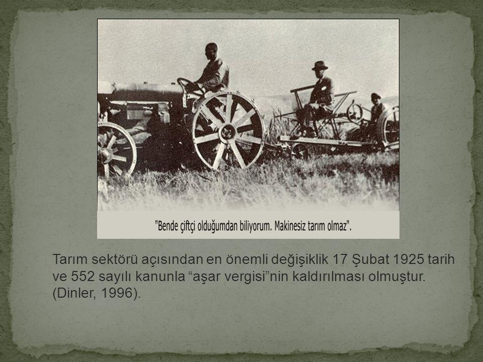 Tarım sektörü açısından en önemli değişiklik 17 Şubat 1925 tarih ve 552 sayılı kanunla aşar vergisi nin kaldırılması olmuştur.