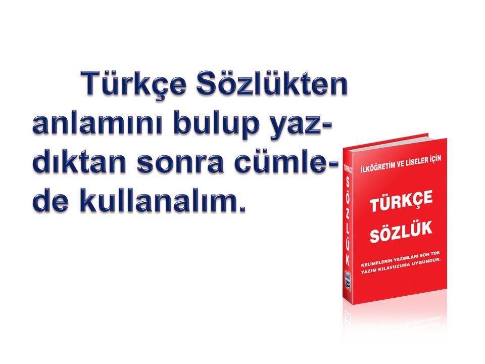 Türkçe Sözlükten anlamını bulup yaz-dıktan sonra cümle- de kullanalım.