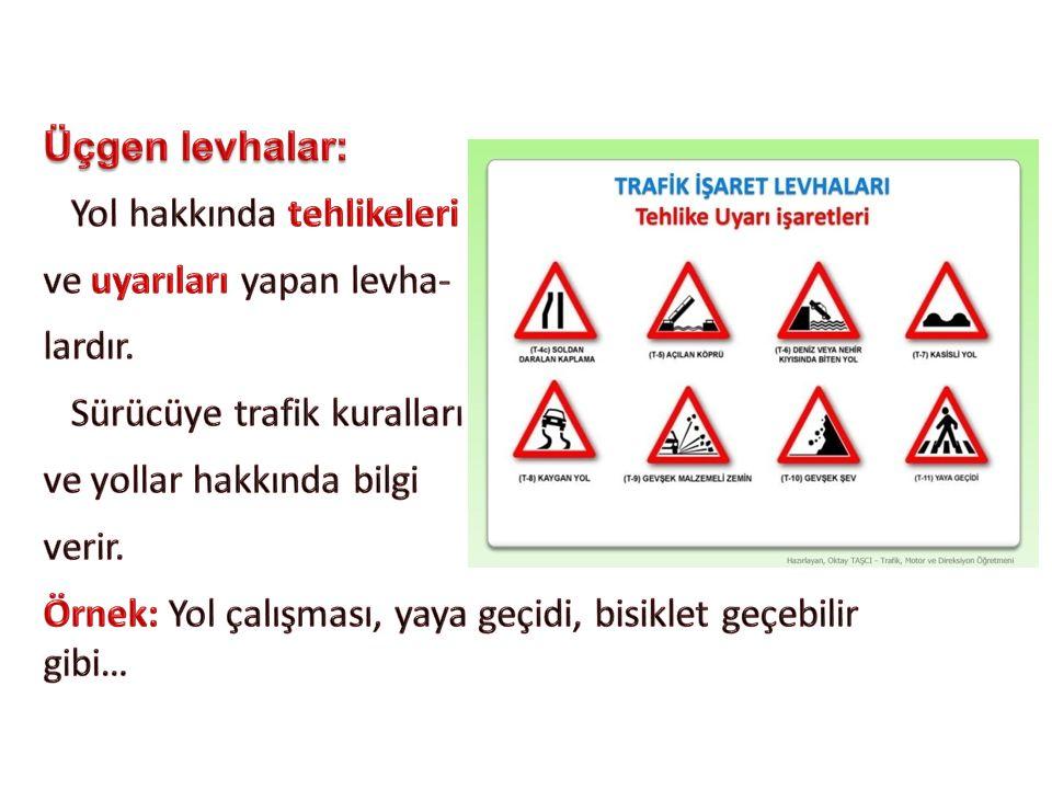Üçgen levhalar: Yol hakkında tehlikeleri. ve uyarıları yapan levha- lardır. Sürücüye trafik kuralları.