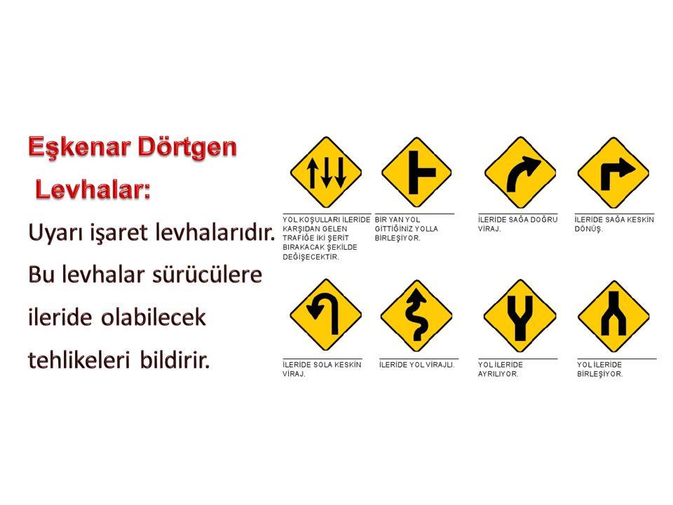 Eşkenar Dörtgen Levhalar: Uyarı işaret levhalarıdır. Bu levhalar sürücülere. ileride olabilecek.