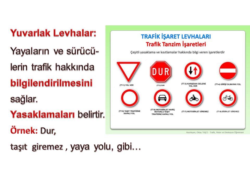 Yuvarlak Levhalar: Yayaların ve sürücü- lerin trafik hakkında. bilgilendirilmesini. sağlar. Yasaklamaları belirtir.