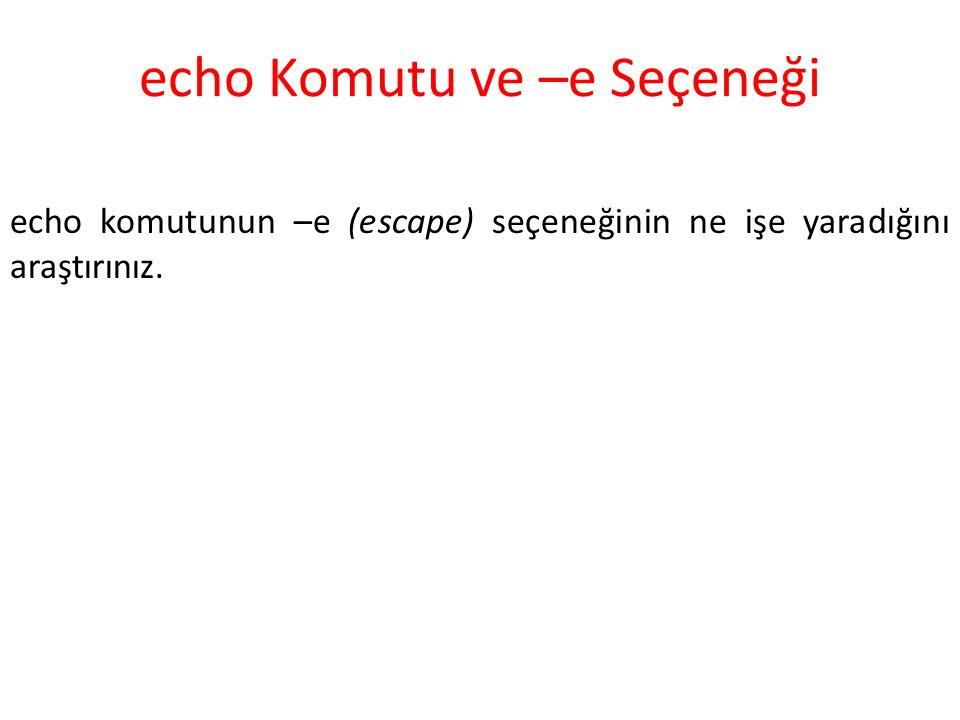 echo Komutu ve –e Seçeneği