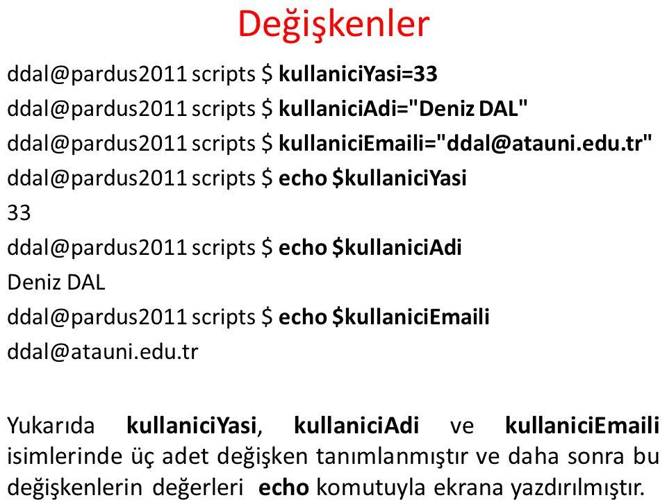 Değişkenler ddal@pardus2011 scripts $ kullaniciYasi=33. ddal@pardus2011 scripts $ kullaniciAdi= Deniz DAL