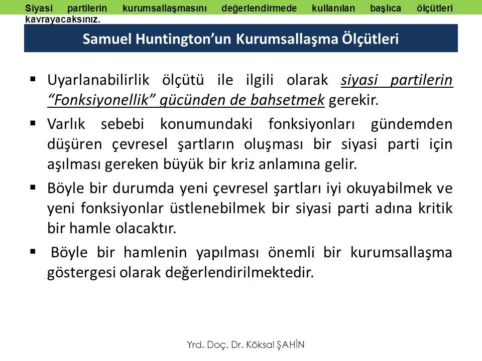 Samuel Huntington'un Kurumsallaşma Ölçütleri