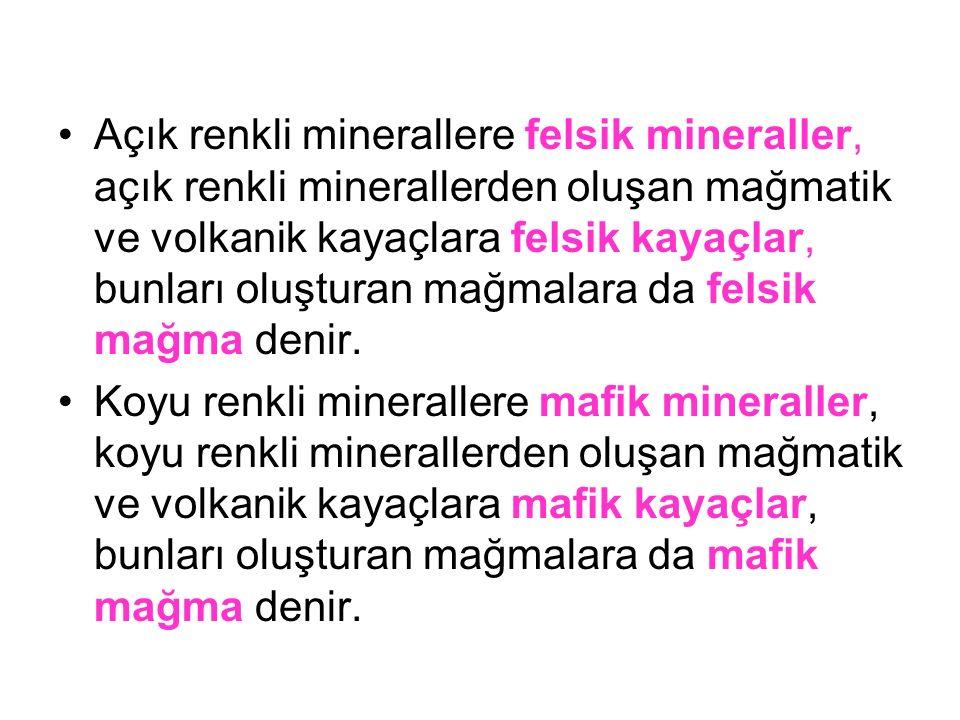 Açık renkli minerallere felsik mineraller, açık renkli minerallerden oluşan mağmatik ve volkanik kayaçlara felsik kayaçlar, bunları oluşturan mağmalara da felsik mağma denir.