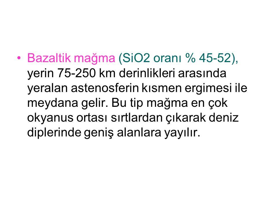 Bazaltik mağma (SiO2 oranı % 45-52), yerin 75-250 km derinlikleri arasında yeralan astenosferin kısmen ergimesi ile meydana gelir.