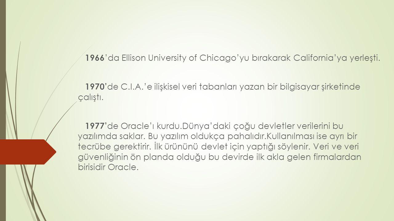 1966'da Ellison University of Chicago'yu bırakarak California'ya yerleşti.