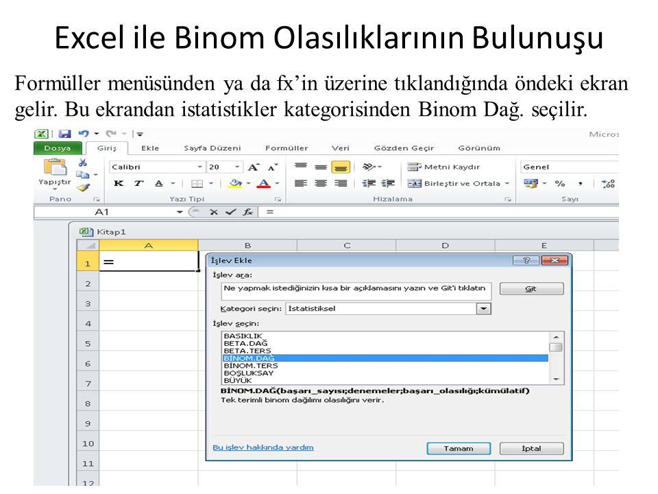 Excel ile Binom Olasılıklarının Bulunuşu