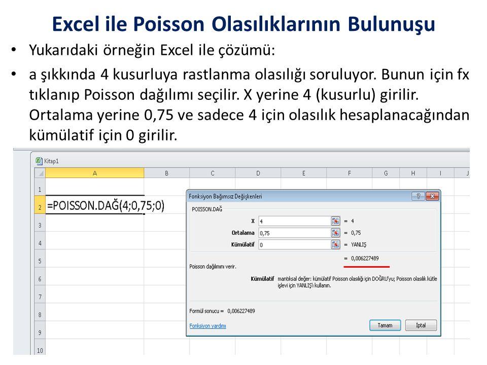Excel ile Poisson Olasılıklarının Bulunuşu