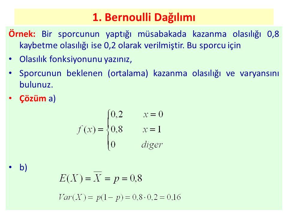 1. Bernoulli Dağılımı Örnek: Bir sporcunun yaptığı müsabakada kazanma olasılığı 0,8 kaybetme olasılığı ise 0,2 olarak verilmiştir. Bu sporcu için.