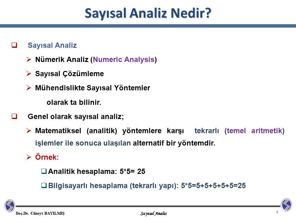 Sayısal Analiz Nedir Sayısal Analiz Nümerik Analiz (Numeric Analysis)