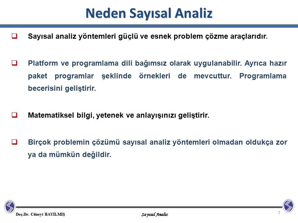 Neden Sayısal Analiz Sayısal analiz yöntemleri güçlü ve esnek problem çözme araçlarıdır.