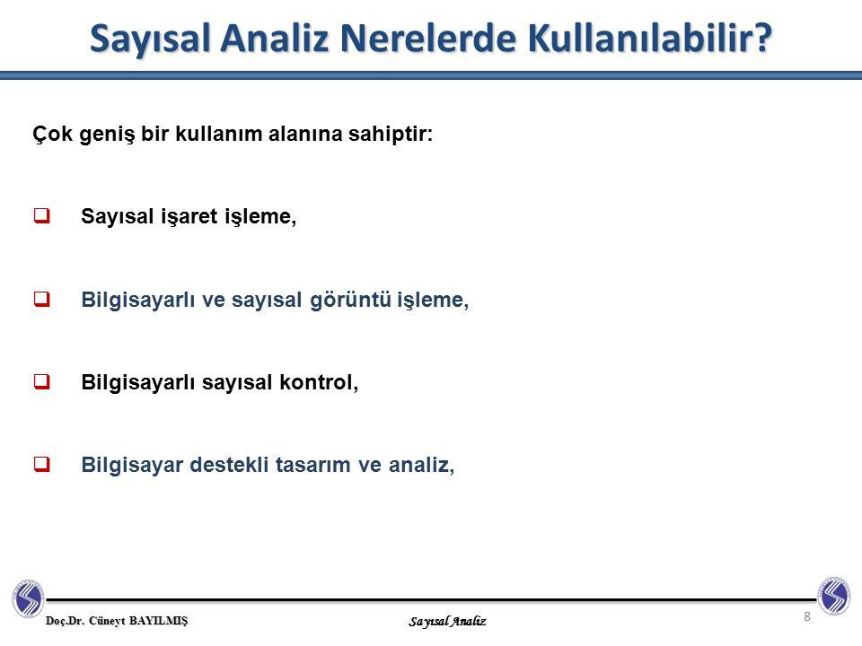 Sayısal Analiz Nerelerde Kullanılabilir