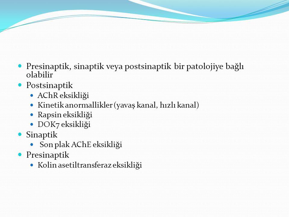 Presinaptik, sinaptik veya postsinaptik bir patolojiye bağlı olabilir