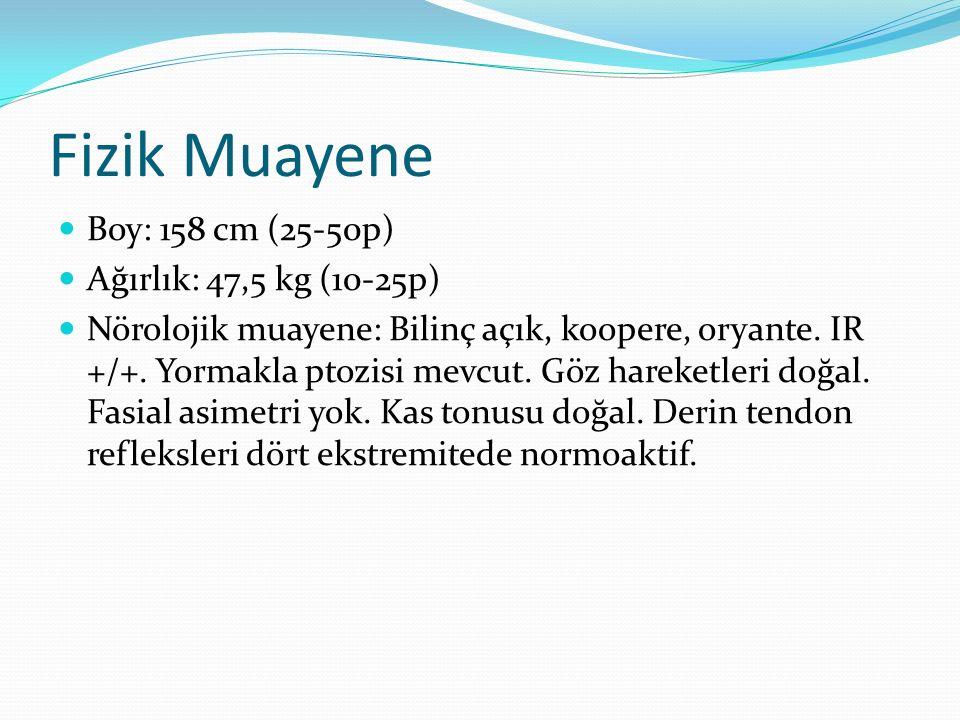 Fizik Muayene Boy: 158 cm (25-50p) Ağırlık: 47,5 kg (10-25p)