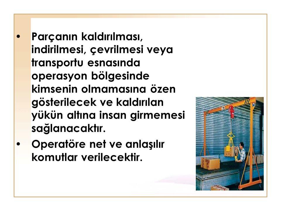 Parçanın kaldırılması, indirilmesi, çevrilmesi veya transportu esnasında operasyon bölgesinde kimsenin olmamasına özen gösterilecek ve kaldırılan yükün altına insan girmemesi sağlanacaktır.
