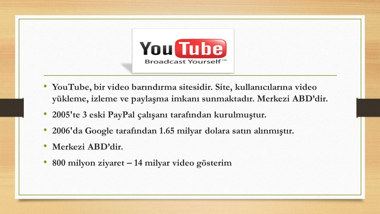 YouTube, bir video barındırma sitesidir