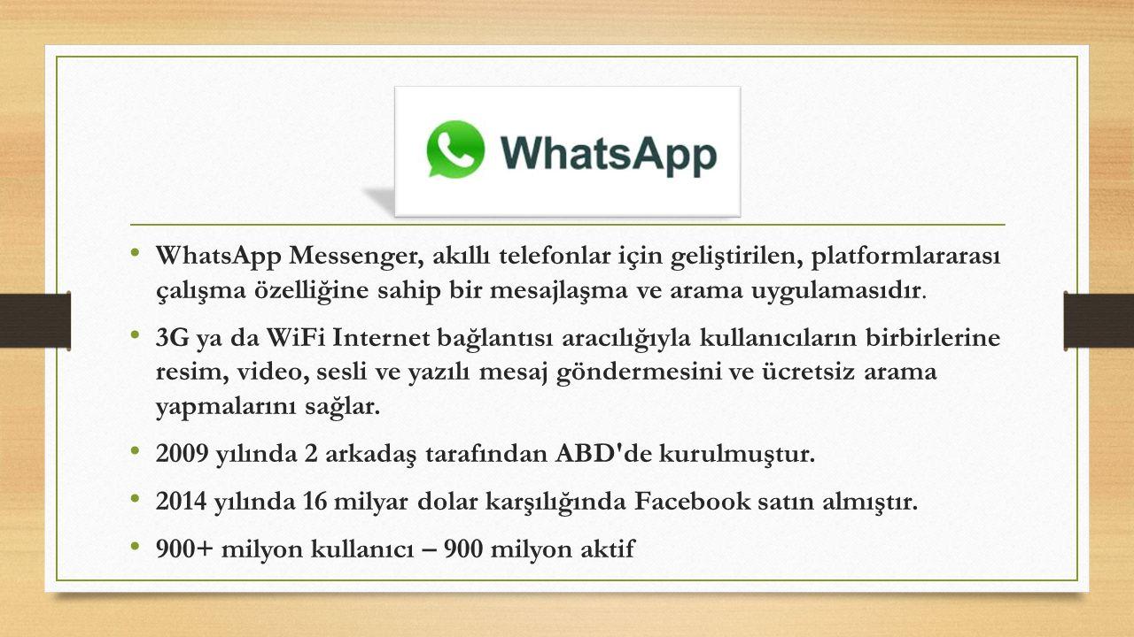 WhatsApp Messenger, akıllı telefonlar için geliştirilen, platformlararası çalışma özelliğine sahip bir mesajlaşma ve arama uygulamasıdır.