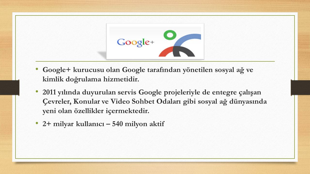 Google+ kurucusu olan Google tarafından yönetilen sosyal ağ ve kimlik doğrulama hizmetidir.