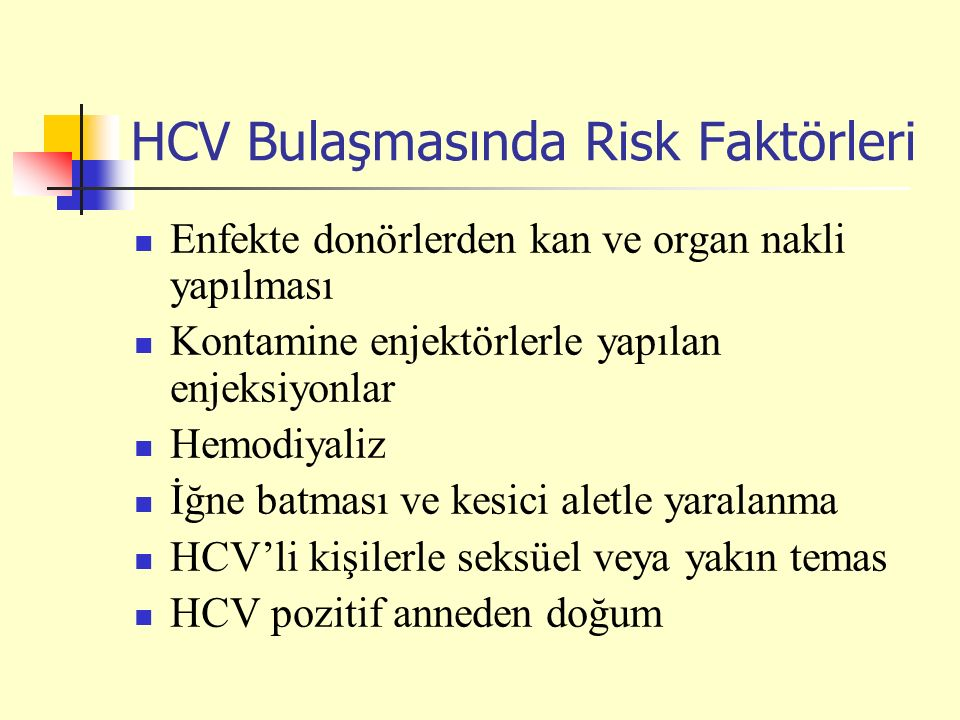 HCV Bulaşmasında Risk Faktörleri