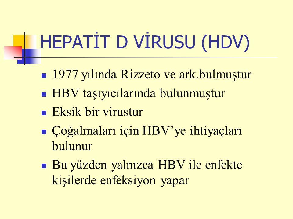 HEPATİT D VİRUSU (HDV) 1977 yılında Rizzeto ve ark.bulmuştur