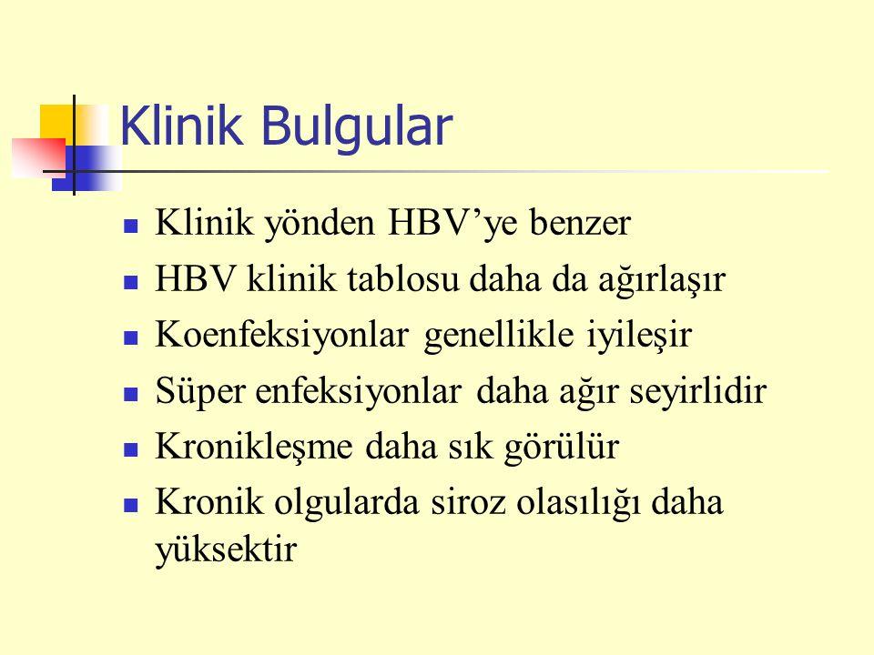 Klinik Bulgular Klinik yönden HBV'ye benzer