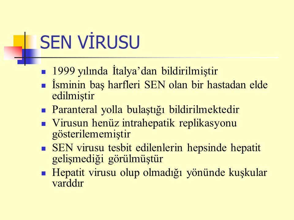 SEN VİRUSU 1999 yılında İtalya'dan bildirilmiştir