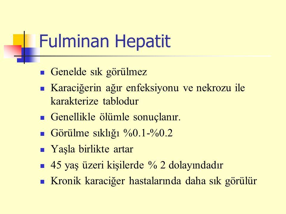 Fulminan Hepatit Genelde sık görülmez
