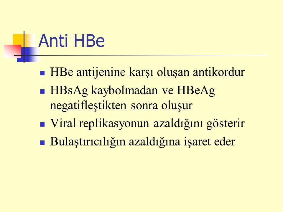 Anti HBe HBe antijenine karşı oluşan antikordur