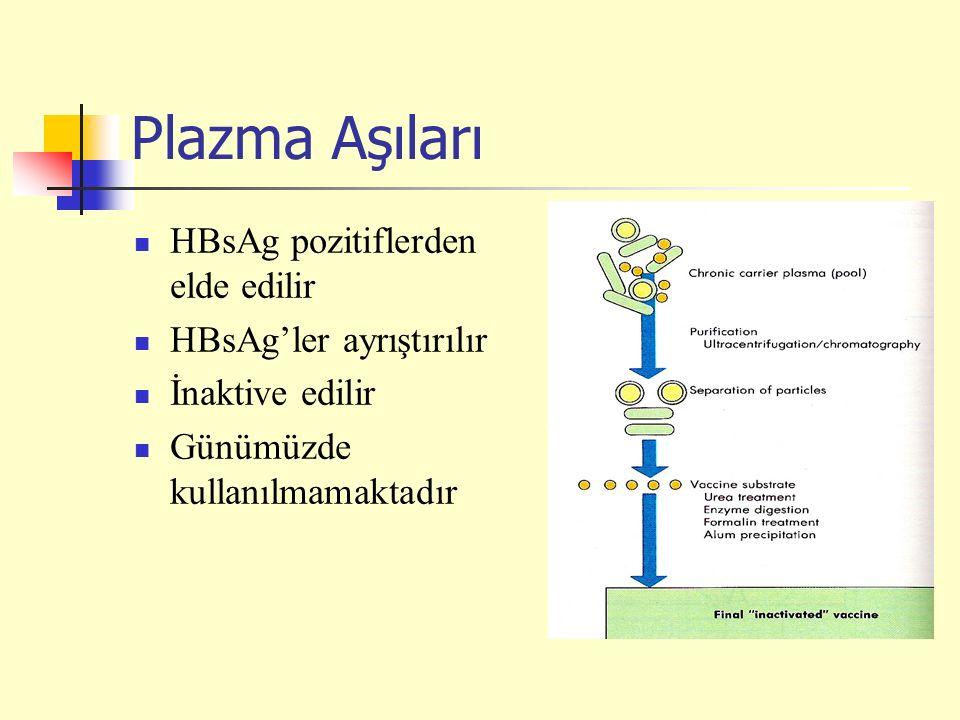 Plazma Aşıları HBsAg pozitiflerden elde edilir HBsAg'ler ayrıştırılır