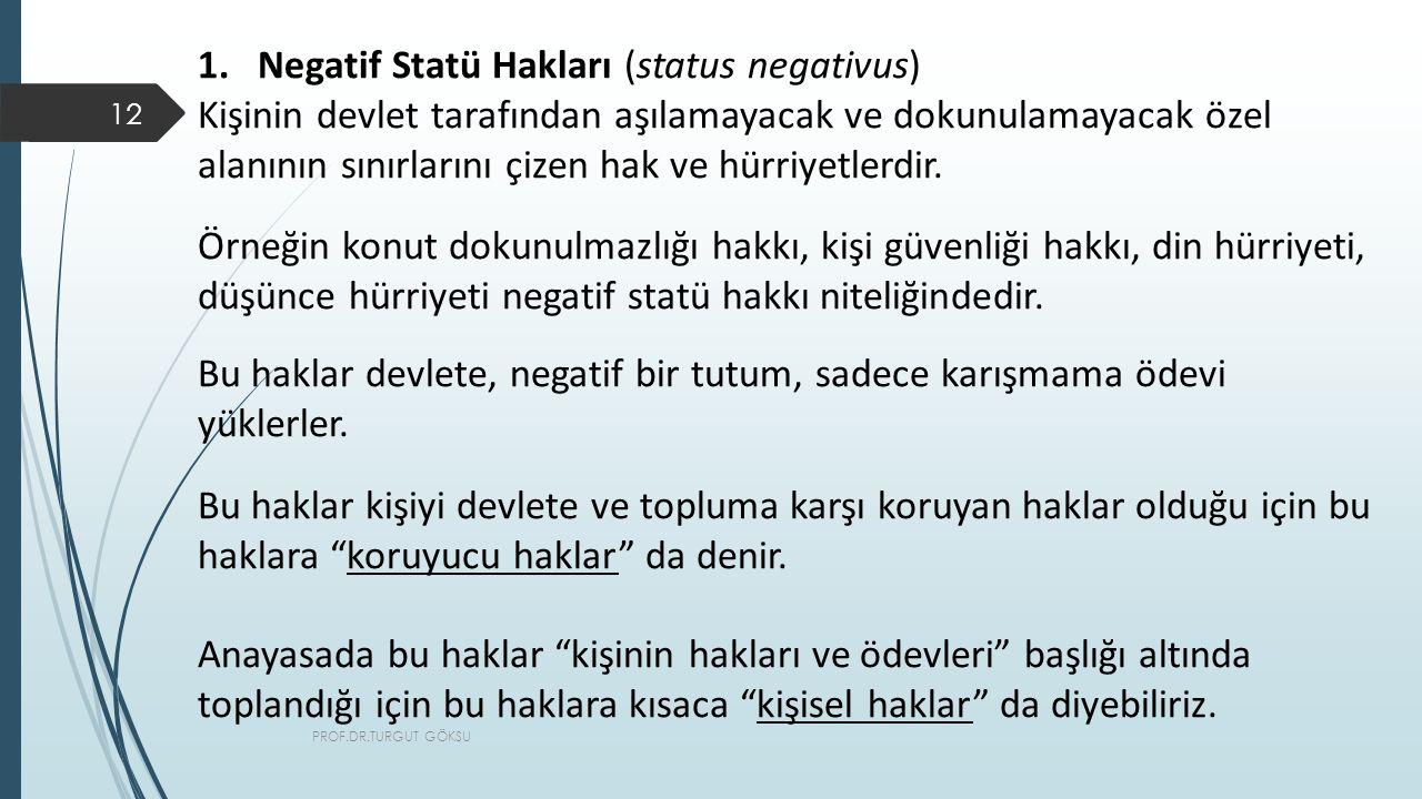 Negatif Statü Hakları (status negativus)
