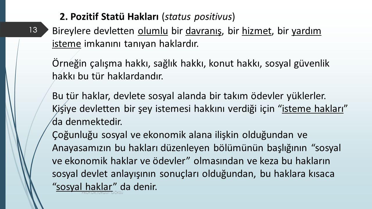2. Pozitif Statü Hakları (status positivus)