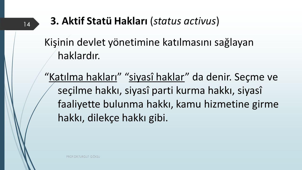 3. Aktif Statü Hakları (status activus)