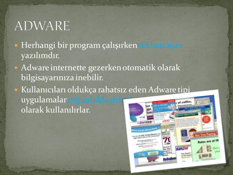 ADWARE Herhangi bir program çalışırken reklam açan yazılımdır.
